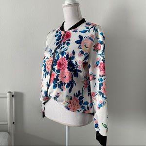 💛 XL Polyester Flower Pattern Bomber Jacket